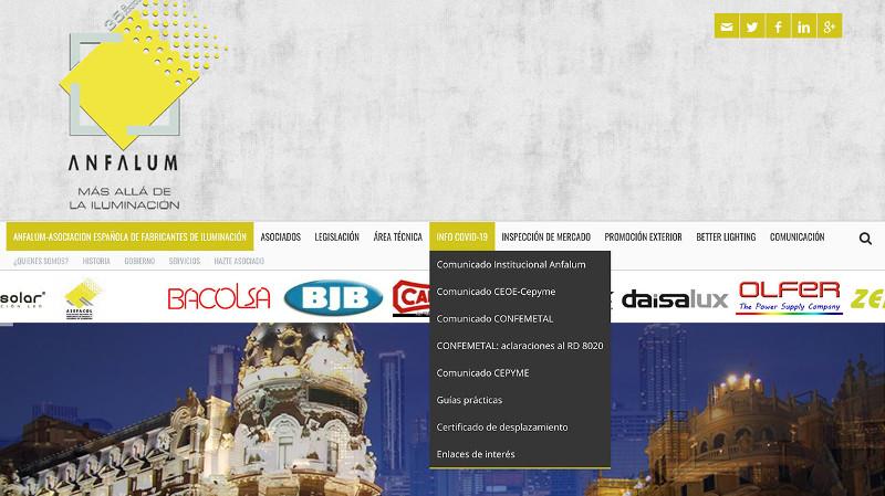ANFALUM habilita un espacio web dedicado al COVID-19 para informar a la industria de la iluminación