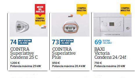 """La OCU elige las calderas de condensación de Cointra como """"Mejor caldera"""""""
